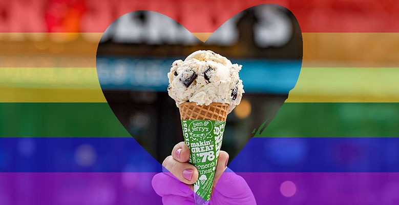 Ben & Jerry's ice cream cone in a heart with Pride rainbow stripes
